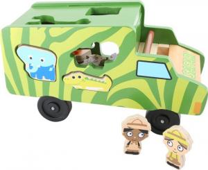 Bus ad incastro in legno animali Safari. Gioco per bambini