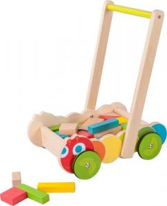 Carrello primi passi da spingere in legno Bruco con cubetti da costruzione