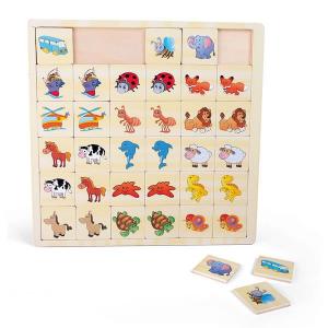Memo Puzzle in legno Vetture ed animali Legler 10193
