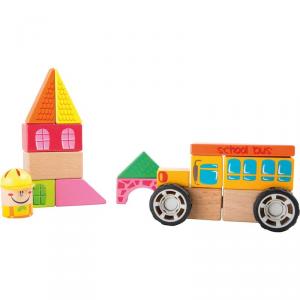 Set da costruzioni Scuolabus cubetti in legno gioco Legler 10082