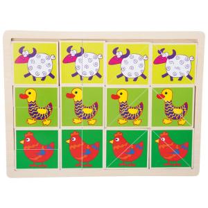 Animali divertenti Puzzle in legno con cornice Legler 10341