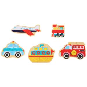 Mezzi di trasporto Puzzle in scatola gioco in legno per bambini