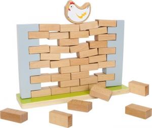 Costruzione muro traballante di mattoni gioco in legno