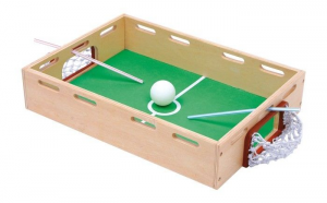 Palla da soffiare con 2 porte, calcio, gioco in legno per bambini