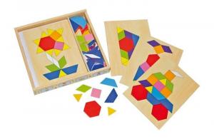 Puzzle box in legno mosaico gioco bambini