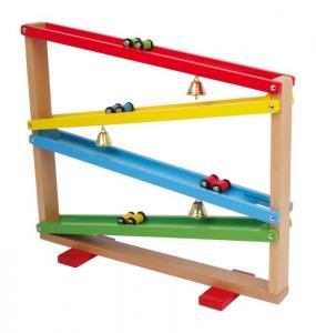 Pista macchinine con campanelle gioco in legno per bambini