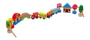 Trenino/città da infilare in legno gioco didattico per bambini