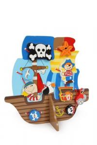 Nave dei pirati da infilare in legno gioco bambini