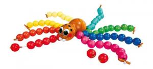 Ragno da infilare in legno gioco di pazienza per bambini