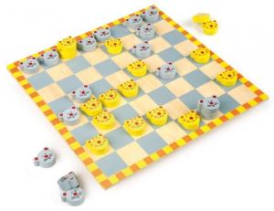 Dama topi e gatti gioco di società in legno