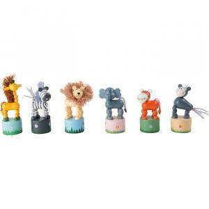 Animali a pressione Africa in legno gioco idea regalo bomboniera battesimo. Set da 6