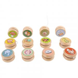 Yo Yo in legno con buffe immagini di animali Espositore Display 12 pezzi