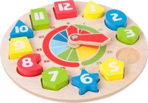 Orologio didattico in legno con Forme e numeri per imparare l'orario.Idea regalo