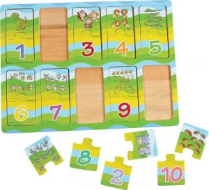 Imparare i numeri con gli animali. Puzzle per bambini in legno