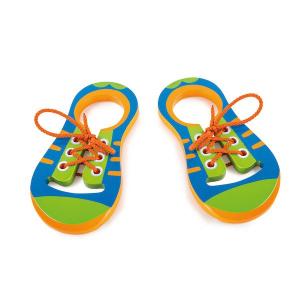 Gioco Allacciare le scarpe in legno 2 pezzi. Montessori Legler 10152