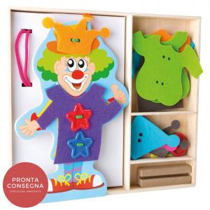 Infila i vestiti Clown gioco Montessori Legler 10184