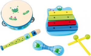 Set Musicale in legno giocattolo bambini xilofono raganella flauto tamburello