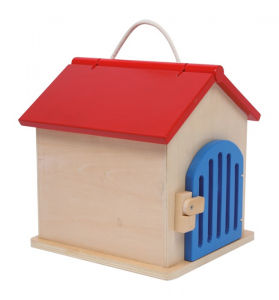 Casetta-canile in legno con accessori ed animali di stoffa