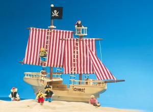 Nave-Barca dei pirati in legno con accessori gioco bambini