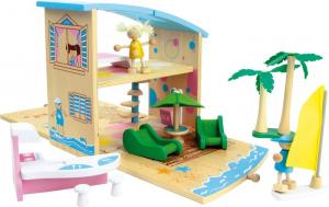 Casa vacanze delle bambole da viaggio in legno