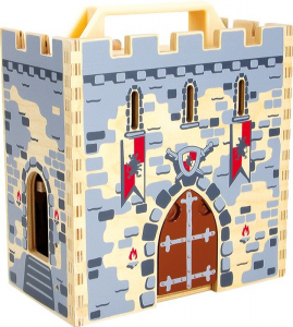 Castello in legno con accessori nella valigia gioco da viaggio per bambini