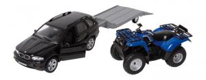 Modellino automobile BMW in metallo con rimorchiogiocattolo bambini