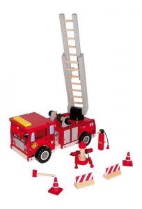 Veicolo in legno Pompieri con accessori