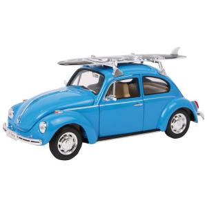 Modellino auto in metallo scala 1:24 VolkWagen Beetle con tavola da surf