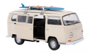 Modellino auto VolkWagen Bus T2 + tavola da surf porte apribili e molla richiamo