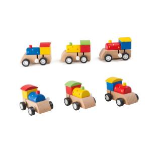 Display 9 pezzi locomotive giocattolo treno in legno con carica a molla