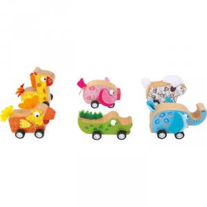 Display 6 pezzi gioco in legno animaletti con carica a molla Legler