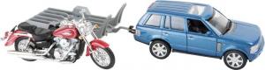 Modellino auto con moto e rimorchio