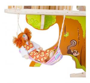 Casa sull'albero in legno con bambole pieghevoli incluse Kit costruzione gioco