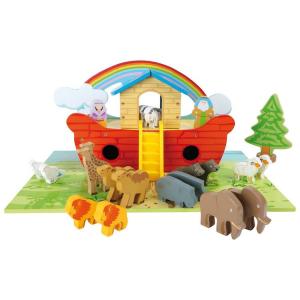 Arca di Noè in legno lavorato con animali ed accessori