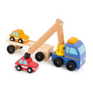 Bisarca con autocarro rimorchio e gru in legno Legler 10104