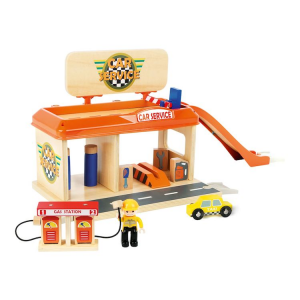 Autofficina con stazione di servizio Accessori trenino legno Small Foot World