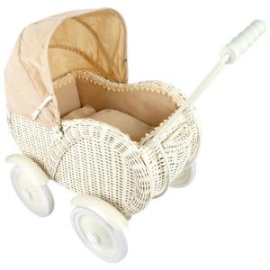 Carrozzina per bambole gioco in vimini con ruote gommate