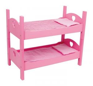 Letto a castello per bambole Rosa con lenzuola a quadretti
