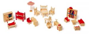 mobili con accessori giardino casa  bambole legno