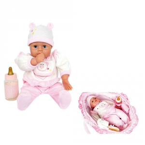 Bambola Giocattolo Natalie con vestiti biberon e lettino Gioco Bambina