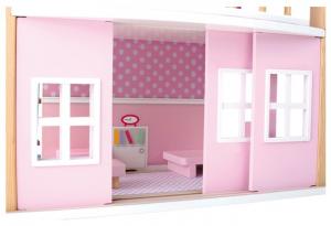 Casa delle bambole in legno con tetto blu e con base girevole