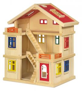 Casa delle bambole in legno con tetto e pareti estraibili giocattolo per bambini
