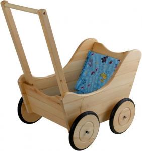 Passeggino carrozzina in legno per bambole