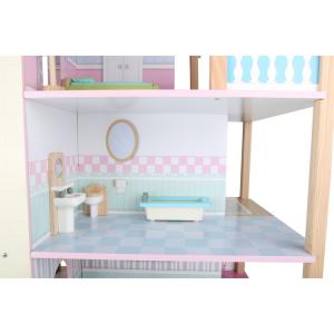 Casa delle bambole in legno Tetto rosa a 3 piani girevole