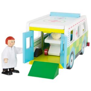 Ambulanza con accessori in legno Mondo tematico gioco per bambini