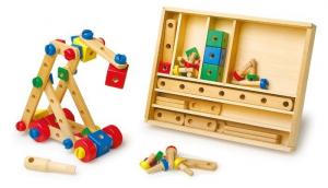 Set scatola costruzioni in legno 84 pezzi gioco bambini