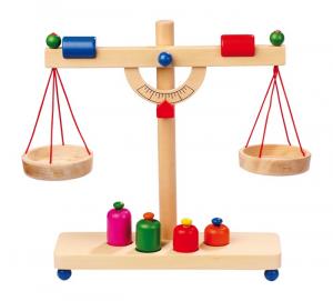 Bilancia da cucina o da mercato in legno massiccio giocattolo per bambini