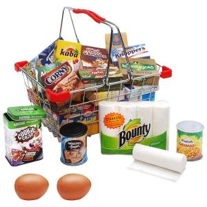 Cestino in metallo per spesa con tanti accessori gioco per bambini