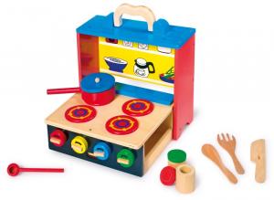 Cucina in legno con manopole e accessori giocattolo per bambini