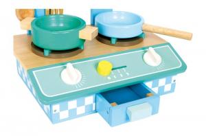 Cucina in legno di faggio colorato con 6 accessori Giocattolo per bambini